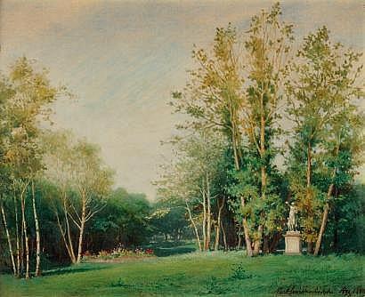 Adolphe AZE (Paris 1823 -? 1884) Entrée du Parc