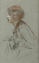 Henri GERVEX (1852-1929) Portrait de femme Dessin aux trois crayons Signé en bas à droite 35 x 22