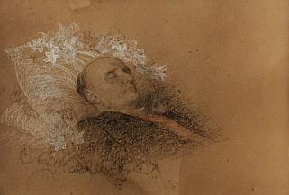 * ERNEST HEBERT (1817-1908) S.A.I. le Prince Napoléon Jérôme sur son lit de mort. Dessin au fusain avec rehauts de craie blanche, dédicacé en bas à droite : 34 x 28 cm. «A S.A.I. Madame la Princesse Clothilde. Rome le 18 mars 1891.»