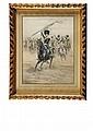 * JEAN-BAPTISTE CHARLES EDOUARD DETAILLE (1848-1912) La charge Lithographie en couleur. Très beau cadre en bois et stuc doré à enroulements de feuillage et de perles. Sous verre. 41 x 32 cm 400 / 500 € Provenance : Collections du Prince Victor