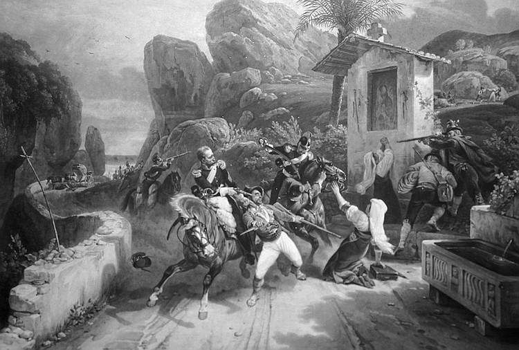 HORACE VERNET, d'après.   Combat entre des dragons du Pape et des Brigands.   vers 1830.  Gravure en noir et blanc (tâches et rousseurs).  Sous verre.  Cadre doré à palmettes.   A.B.E.   61,5 x 89 cm 400 / 600 €
