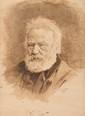 Ecole Française du XIXème siècle Portrait de Victor Hugo (d'après photographie) Plume, encre brune, lavis brun et gris 22,8 x 17 cm (9 x 6,7 in.) Annoté Victor Hugo Signature illisible  Expert : Cabinet De Bayser  Ink, brown ink, wash