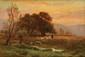 François Richard DE MONTHOLON (1856-1940) Soir dans la Lande Sur sa toile d'origine Signée en bas à gauche 37 x 55 cm (14,6 x 21,6 in.) Au dos : Etiquette de la vente d'atelier Notre tableau est une esquisse du tableau
