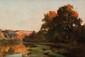 François Richard DE MONTHOLON (1856-1940) La Fosse aux Brèmes, près de Oudon Sur sa toile d'origine Signée au dos 38 x 55 cm (15 x 21,6 in.) Au dos : Etiquette de la vente d'atelier Notre tableau est une esquisse du tableau du même nom conservé au