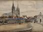 FRANK-WILL (1900-1951)  La Cathédrale de Chartres Aquarelle, lavis et crayon Signé en bas à gauche, daté 1927 et situé à Chartres 48,5 x 63 cm (à vue) (19 x 24,8 in.)  Watercolour, wash and pencil Signed lower left, dated 1927 and located in Chartres