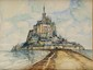 FRANK-WILL (1900-1951)  Le Mont Saint Michel Aquarelle, lavis et crayon  Signé en bas à droite 48 x 63,5 cm (18,9 x 25 in.)  Watercolour, wash and pencil Signed lower right