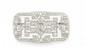 BROCHE en platine de forme géométrique, le motif ajouré et orné de diamants de taille ancienne. Poids brut : 11,1 g Largeur : 4 cm Hauteur : 2,5 cm  A diamond and platinium brooch