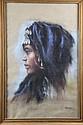 Catherine DAMMERON (XXème siècle) Profil à l'Orientale Pastel signé en bas à droite 67 x 43 cm