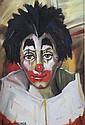 Georges CHEBER (XXè) Portrait de clown  Gouache sur papier signée en bas à gauche 53 x 36 cm (à vue)