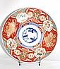 IMARI PLAT ROND en faience polychrome à décor en camaieu sur fond rouge Japon, XIXème siècle Diamètre : 46 cm