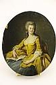 ECOLE FRANCAISE du XIXème siècle Portrait de Dame de Lettre Huile sur panneau ovale 26,5 x 22,5 cm