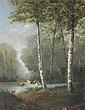 H. THENARD (XIX-XXème siècle) Les Lavandières Huile sur panneau signé en bas à droite 24 x 19 cm