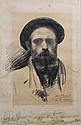Edouard Casimir Arthur FLAMENT (1871-1943) Portrait d'homme au turban fusain sur papier signé et daté en bas à droite 49 x 32,5 cm