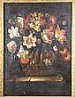 ECOLE ESPAGNOLE DU XVIIème siècle Bouquet de fleurs sur un entablement Huile sur toile dans son cadre d'origine 84 x 61 cm