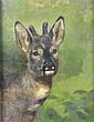Richard SCHOLZ (1860-1939) Chevreuils en forêt Huile sur toile Signé en bas à gauche