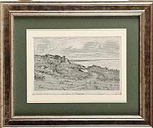 Maurice DAINVILLE (1856-1943) Le Bec d'Andaine (Manche) , Baie du Mont Saint-Michel 1893 . Dessin au crayon et encre de chine sur carte typographique, rehauts de blanc en réserve Titré et signé en bas à gauche et au milieu 14 x 20 cm Pencil and China