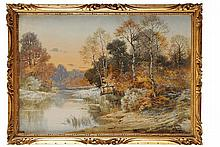 Hippolyte Jean Adam GIDE (1852-1921)  Paysage à l'étang Aquarelle et réhauts de gouache Signé en bas à droite 38 x 55 cm (à vue)  Watercolour and highlights of gouache, Signed lower right, 14,9 x 21,6 in.