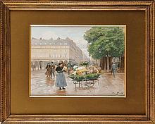 Victor Gabriel GILBERT (1847-1935)  Marchande de fleurs près du Louvre Gouache et aquarelle Signé en bas à droite 28,5 x 38,5 cm (à vue)  Expert : Monsieur Noé Willer  Gouache and watercolour, Signed lower right, 11,2 x 15,1 in.