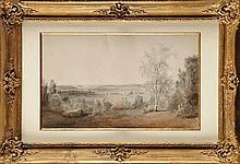 François Edme RICOIS (1795-1881) Au bois de Longchêne Aquarelle  Signé, situé et daté 3 juin 1869 en bas à droite 28,5 x 47,5 cm (à vue) (Verre accidenté)  Watercolour, Signed, located and dated 3 June 1869 lower right, 11,2 x 18,7 in.