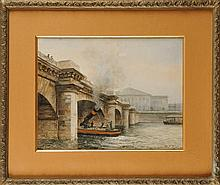 Paul PUJOL (1848- ?) Le pont de la Concorde Aquarelle  Signé et daté 1892 en bas à droite  39 x 50 cm  Au dos : Etiquette d'Exposition de Chicago  Watercolour, Signed and dated 1892 lower right, 15,3 x 19,6 in.