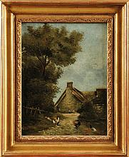 Ecole Française du XIXème siècle Basse-coure Sur sa toile d'origine Signé en bas à droite 32,5 x 25 cm  On its original canvas, Signed lower right, 12,7 x 9,8 in.