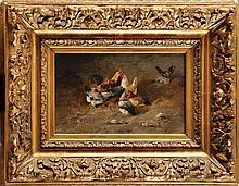 Alexandre DEFAUX (1826-1900)  Le Poulailler Sur sa toile d'origine Signé en bas à droite 22,5 x 35,5 cm  On its original canvas, Signed lower right, 8,8 x 13,9 in.