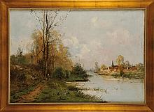 Charles CLAIR (1860-1930) Paysage à la barque Sur sa toile d'origine Signé en bas à gauche 65 x 92 cm  On its original canvas, Signed lower left, 25,5 x 36,2 in.
