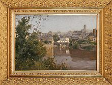 Ernest BAILLET (1853-1902)  Rivière traversant une ville Sur sa toile d'origine Signé en bas à gauche 38 x 55 cm  Oil on canvas, Signed lower left, 14,9 x 21,6 in.