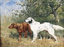 Olivier Charles DE PENNE (1831-1897)  Chiens à l'arrêt Huile sur panneau Signé en bas à droite 19 x 24,5 cm  Oil on panel, Signed lower right, 7,4 x 9,6 in.