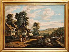 Alexandre René VÉRON (1826-1897)  L'Attelage Huile sur toile Signé en bas à droite 54 x 73 cm  Oil on canvas, Signed lower right, 21,1 x 28,7 in.