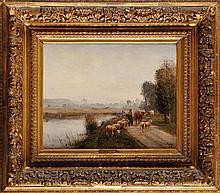 Louis Aimé JAPY (1840-1916) Départ du troupeau Huile sur panneau (fendu et parqueté) Signé en bas à droite 32 x 41 cm  Oil on panel, Signed lower right, 12,5 x 16, in.