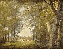 Camille MAGNUS (1850 - 1877) Paysannes et leur troupeau Huile sur carton fort Signé en bas à droite 33 x 41 cm  Oil on strong cardboard, Signed lower right, 12,9 x 16,1 in.