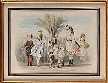 François Claudius COMPTE-CALIX (Attribué à) (1813-1880)  Enfants en visite au Jardin des Plantes Aquarelle et gouache 19,6 x 26,8 cm  Watercolour and gouache, 7,7 x 10,5 in.
