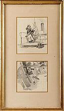 Felician VON MYRBACH-RHEINFELD (1853-1940) Marins sur le pont Deux dessins au crayon et lavis dans un même montage Signés en bas à gauche 18,5 x 15,5 cm et 15,5 x 15,5 cm Two pencils and washings in the same mounting, Signed lower left, 7,2 x 6,1 in.