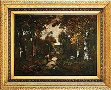 Camille MAGNUS (1850-?)  Fagotière en forêt Sur sa toile d'origine Signé en bas à droite 46 x 61 cm  On its original canvas, Signed lower right, 18,1 x 24 in.