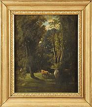 Ecole Française du XIXème siècle Vaches en sous-bois Pastel 59 x 48 cm  Pastel, 23,2 x 18,8 in.