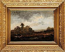 Pierre Ernest BALLUE (1855-1928)  Paysage de forêt Huile sur panneau Signé et daté 78 en haut à gauche 24 x 32 cm  Oil on panel, Signed and dated 78 upper left, 9,4 x 12,5 in.