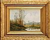R. MICHEL (XIXème siècle) Paysage à la rivière Sur sa toile d'origine Signé en bas à droite 33 x 46 cm  On its original canvas, Signed lower right, 12,9 x 18,1 in.
