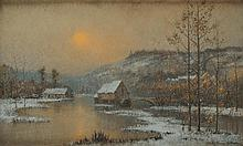 René BILLOTTE (1846 - 1915)  Bord de Seine, coucher de soleil Pastel Signé en bas à droite 32 x 54 cm  Pastel, Signed lower right, 12,5 x 21,2 in.