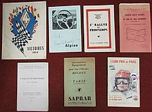 Lot de divers catalogues de rallyes dont Alpine dédicacé.