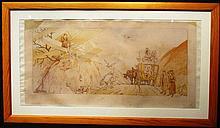 Ernest Montaut 1879-1909, « Le voyage de noces » 45 x 90 cm, encadré.