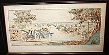 Gamy, (Présumée Marguerite Montaut) « Coupe des voitures légères 1911 », Ballot le gagnant sur Delage, Magnéto Bosch, carburateur Claudel, 45 x 90 cm, encadré.