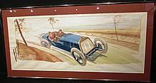 Ernest Montaut 1879-1909, « Grand Prix de l'ACF, Bayard Clément 1er », 45 x 90 cm, encadré.