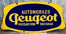 Plaque émaillée « Automobiles Peugeot Production Sochaux », double face, Emaillerie alsacienne Strasbourg.