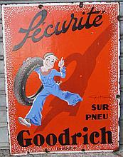 Plaque émaillée Pneu GOODRICH, GEO HAM, double face, Emaillerie alsacienne Strasbourg.
