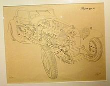 Eclaté de la Bugatti type 50 par Jarraud.