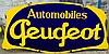 Plaque émaillée « Automobiles Peugeot », double face, Emaillerie alsacienne Strasbourg.