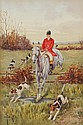 François Joseph GIROT (1873-1916)  Chasse à coure Aquarelle et gouache Signé en bas à gauche 43,3 x 29 cm  Watercolor and gouache Signed lower left 17 x 11 2/5 in.