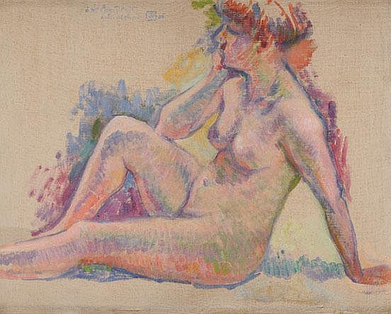 Theodore VAN RYSSELBERGHE (1862-1926) Baigneuse assise vers la gauche Huile sur toile Monogrammé et daté 06 en haut à gauche Dédicacé
