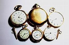 LOT DE MONTRES en or jaune comprenant trois montres de col et trois montres de gousset. Poids brut: 288,4 g